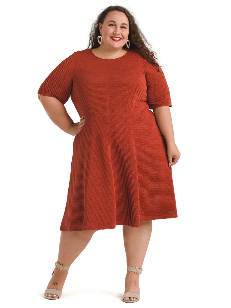 Textured Rust Colored Fit and Flare Dress