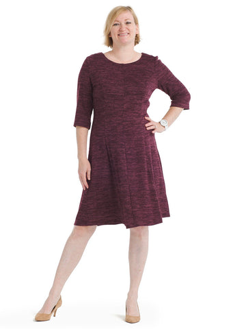 Textured Burgundy Knit Fit And Flare Dress