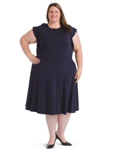Frill Navy Fit And Flare Dress