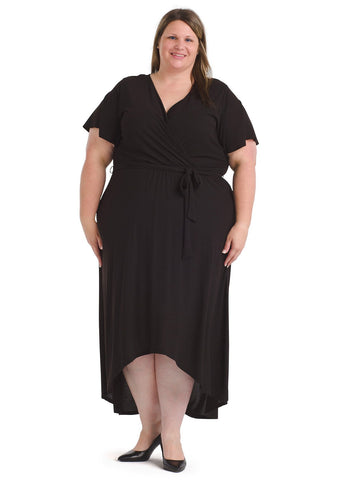 Surplice Top Black Midi Dress