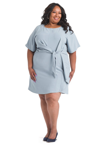 Knot Front Sky Blue Shift Dress