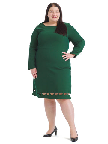 Hem Detail Green Fit And Flare Dress