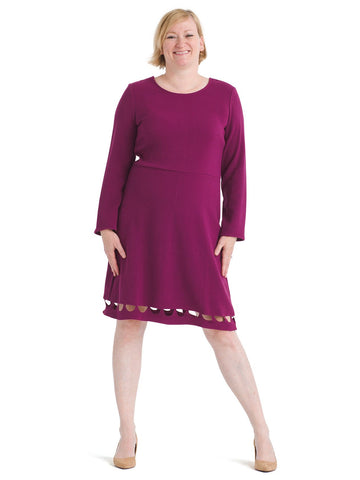 Hem Detail Magenta Fit And Flare Dress