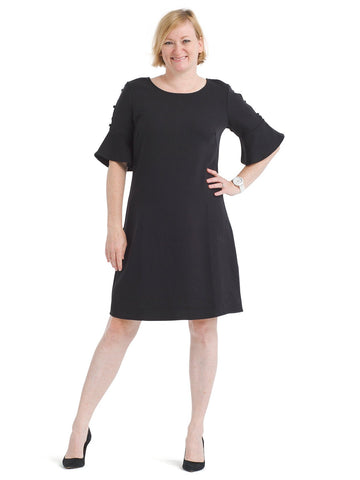 Cutout Sleeve Detail Black Dress