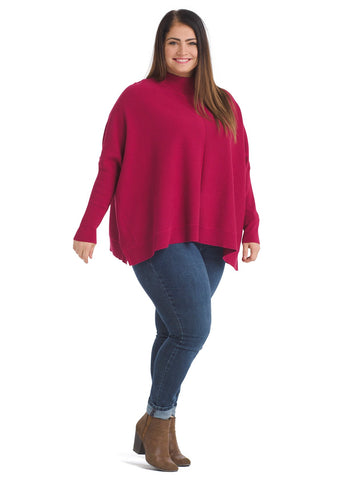 Mock Neck Dolman Sleeve Red Sweater