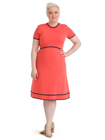 Navy Piping Coral Fit And Flare Dress