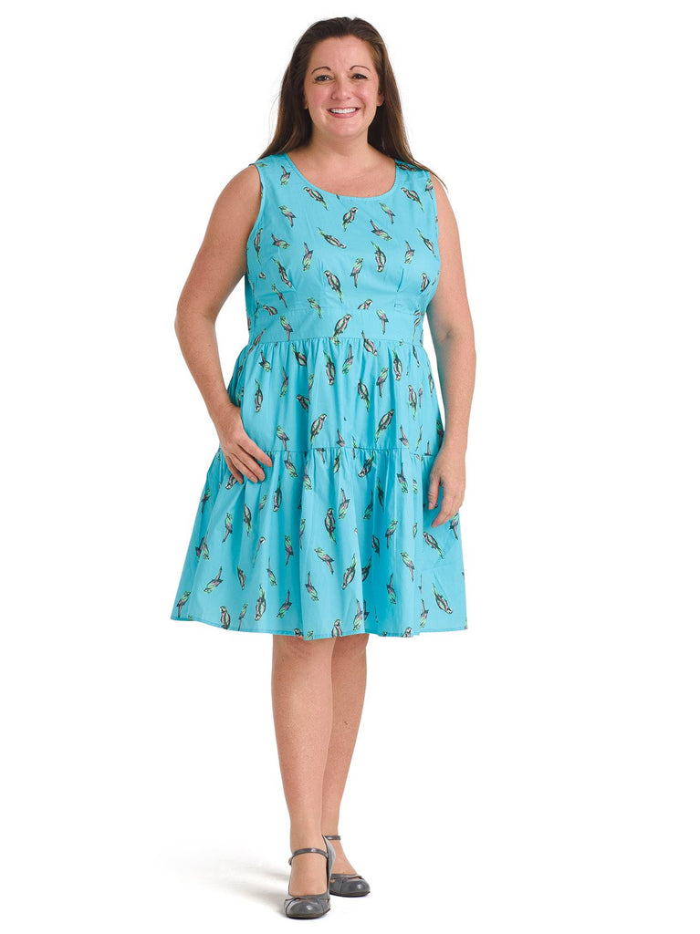 Parrot Print Fit And Flare Dress