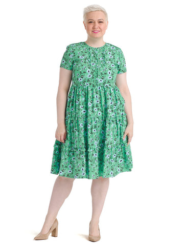 Tiered Green Floral Print Dress