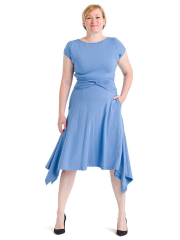 Handkerchief Hem Blue Dress