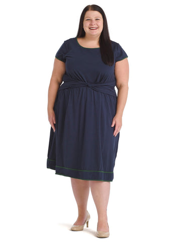 Green Piping Navy Fit And Flare Dress