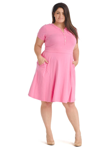 Button Detail Pink Fit And Flare Dress