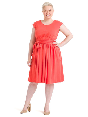 Waist Tie Coral Fit And Flare Dress