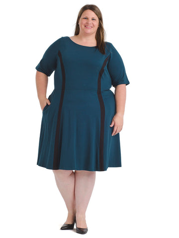 Contrast Trim Blue Fit And Flare Dress