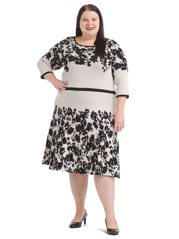 Rose Alabaster Black Floral Printed Sweater Dress