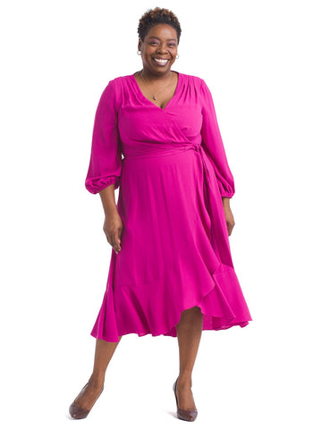 Orchid Pink Faux Wrap Dress