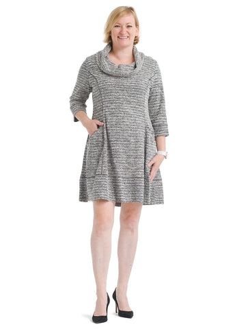 Knit Tweed Cowl Neck Fit And Flare Dress