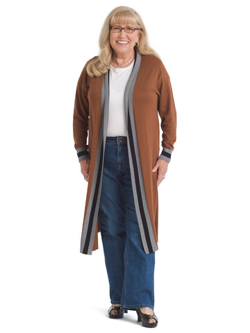 Border Trim Cooked Caramel Duster Cardigan