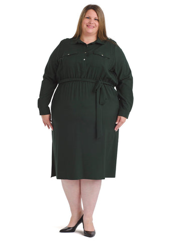 Button Front Hunter Green Midi Dress