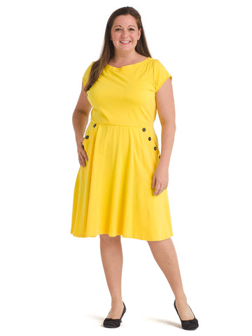 Button Detail Yellow Fit And Flare Dress