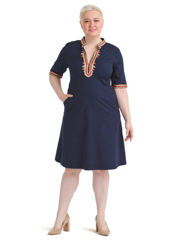 Embellished Trim Navy Dress