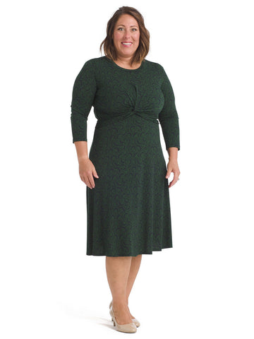 Leafy Twist Front Jersey Fit And Flare Dress