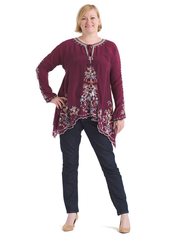 Tie Front Embroidered Tunic