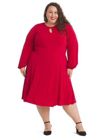 Bishop Sleeve Scarlet Fit And Flare Dress