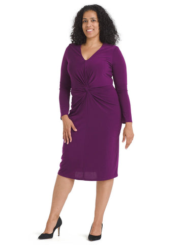 Twist Front Crepe Sheath Dress