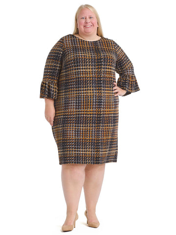 Ruffle Sleeve Plaid Knit Shift Dress