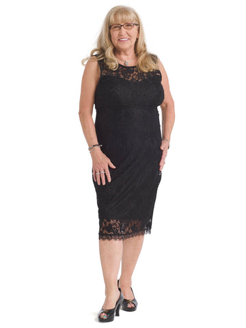 Scallop Hem Lace Sheath Dress