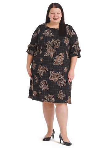 Floral Grid Tiered Sleeve Shift Dress