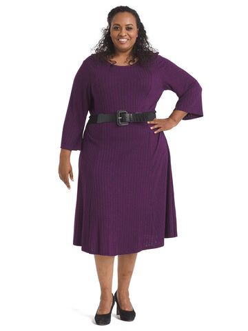 Ribbed Knit Purple Dress