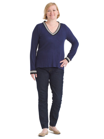 Varsity Trim V-Neck Cozy Top
