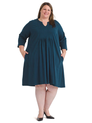 Notch Neck Teal Shift Dress