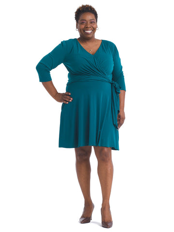 Jewel Green Faux Wrap Dress