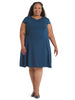 Side Detail Blue Fit And Flare Dress