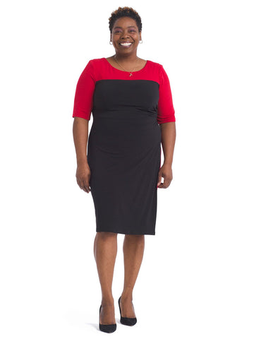 Black and Red Peekaboo Side Sheath Dress