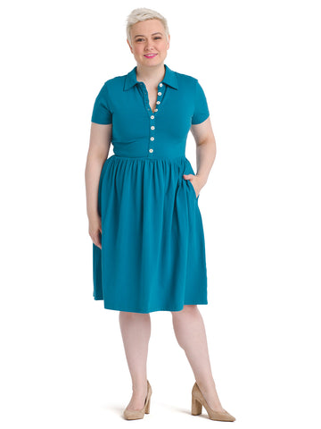 Button Front Teal Fit And Flare Dress