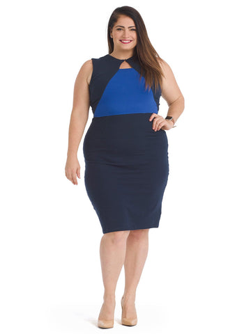 Keyhole Navy Color Block Dress
