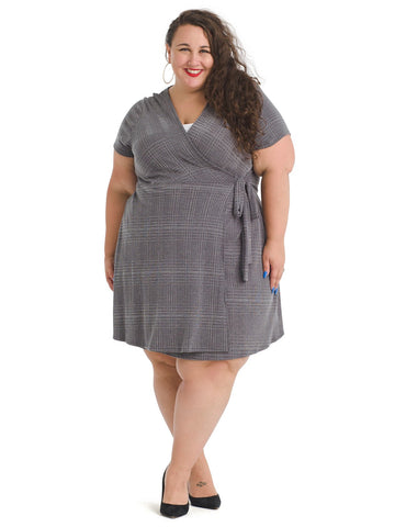 Grey Plaid Wrap Dress