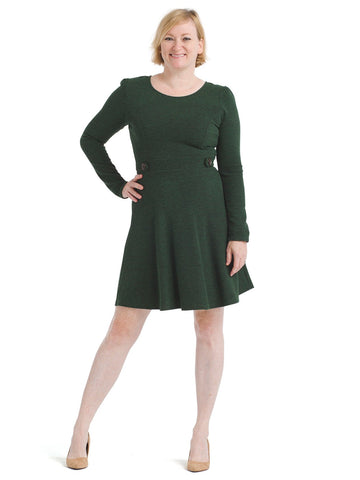 Button Detail Green Fit And Flare Dress