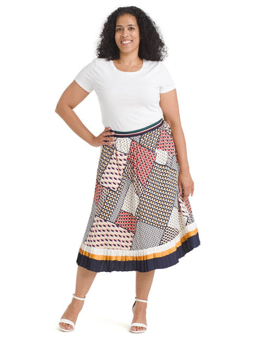 Pleated Navy And Red Patchwork Skirt