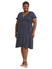 Dot Print Navy Faux Wrap Dress
