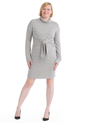 Cozy Tie Waist Turtleneck Gray Dress