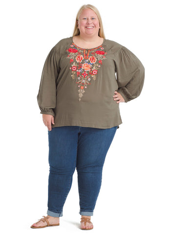 Floral Embroidery Olive Top
