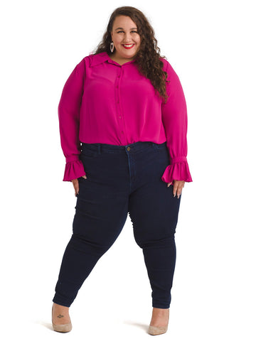 Bell Sleeve Button Down Magenta Top