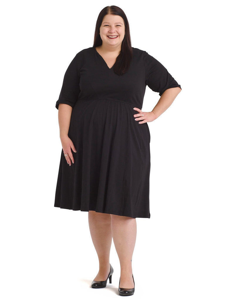 Notch Neck Black Fit And Flare Dress