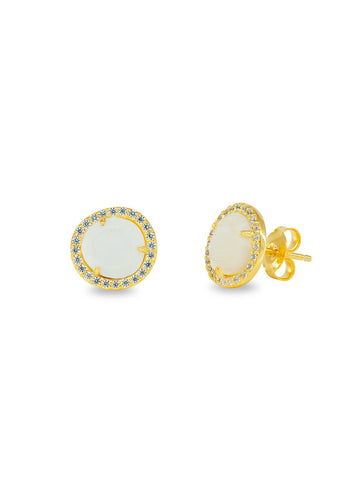 Gold Plated Sparkling Mother of Pearl Studs
