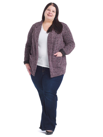 Burgundy Tweed Knit Blazer