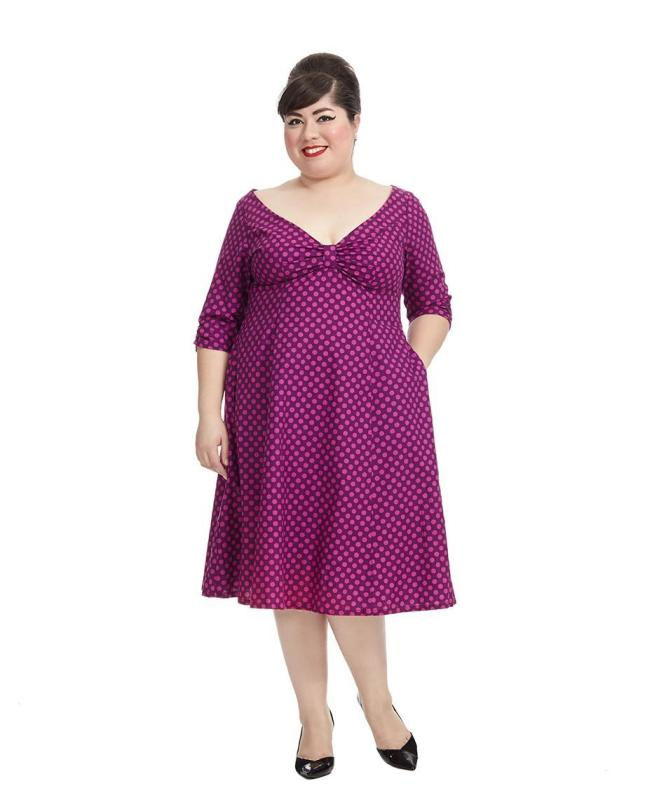 Judith Dress In Magenta Dot